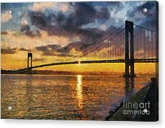 Verrazano Bridge During Sunset Acrylic Print