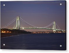 Verrazano Narrows Bridge At Night Acrylic Print