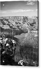 Vertical Grand Canyon At Sunset - Bw Acrylic Print by Gregory Ballos