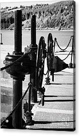 Vertical Newry Ship Canal Lock Gates And Controls At The Newly Refurbished Victoria Lock At Carlingford Lough Acrylic Print by Joe Fox