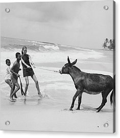 Veruschka Von Lehndorff And Two Children Pulling Acrylic Print