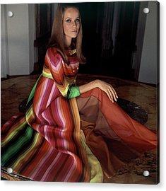 Veruschka Von Lehndorff Wearing A Striped Coat Acrylic Print by Henry Clarke