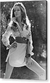 Veruschka Von Lehndorff Wearing An Alice Stuart Acrylic Print by Franco Rubartelli