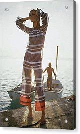 Veruschka Von Lehndorff Wearing Jumpsuit Acrylic Print by Louis Faurer