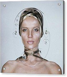 Veruschka Von Lehndorff's Face Framed By Clear Acrylic Print