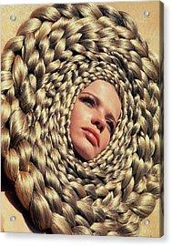 Veruschka Von Lehndorff's Head Surrounded Acrylic Print by Franco Rubartelli