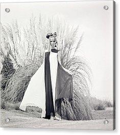 Veruschka Wearing A Teal Traina Dress Acrylic Print