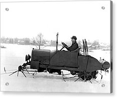 Very Early Snowmobile Acrylic Print by Underwood Archives
