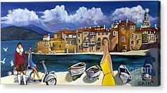 Vespa And French Cove Acrylic Print by William Cain