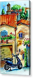 Vespa In Tuscany  Acrylic Print by Trudi Doyle