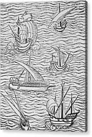 Vessels Of Early Spanish Navigators From The Narrative And Critical History Of American Acrylic Print by English School