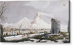 Vesuvius In Snow, Plate V From Campi Acrylic Print by Pietro Fabris