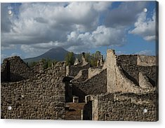 Vesuvius Towering Over The Pompeii Ruins Acrylic Print