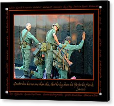 Veterans At Vietnam Wall Acrylic Print