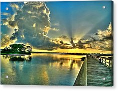 Acrylic Print featuring the photograph Veterans Pier Sunrise by Ed Roberts