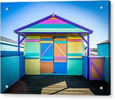 Acrylic Print featuring the photograph Vibrant Beach Hut by Gary Gillette