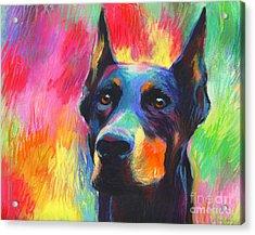 Vibrant Doberman Pincher Dog Painting Acrylic Print