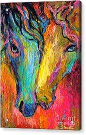 Vibrant Impressionistic Horses Painting Acrylic Print by Svetlana Novikova