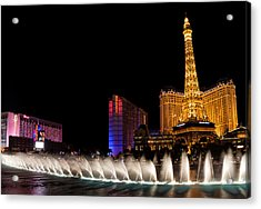 Vibrant Las Vegas - Bellagio's Fountains Paris Bally's And Flamingo Acrylic Print