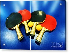 Vibrant Ping-pong Bats Table Tennis Paddles Rackets On Blue Acrylic Print