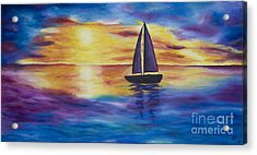 Glowing Sunset Sail Acrylic Print
