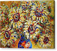 Acrylic Print featuring the painting Vibrant Sunflower Essence by Natalie Holland