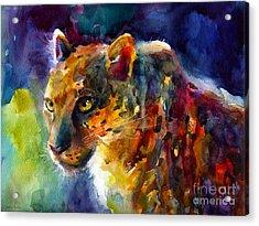Vibrant Watercolor Leopard Wildlife Painting Acrylic Print by Svetlana Novikova