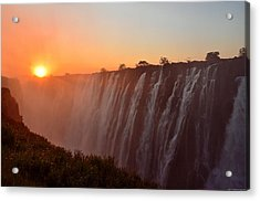 Victoria Falls At Sunset Acrylic Print by Jeff at JSJ Photography