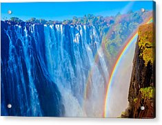Victoria Falls Double Rainbow Acrylic Print by Jeff at JSJ Photography