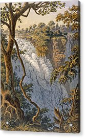 Victoria Falls The Leaping Water Acrylic Print by Thomas Baines