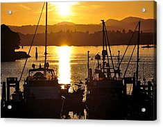 Acrylic Print featuring the digital art Victoria Harbor Sunset 2 by Kirt Tisdale