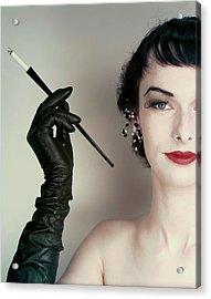 Victoria Von Hagen Holding A Cigarette Holder Acrylic Print by Erwin Blumenfeld