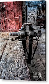 Victorian Bench Vice Acrylic Print by Adrian Evans