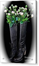 Victorian Black Boots Acrylic Print by Jeannie Rhode