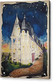 The Victorian Apartment Building By Rjfxx. Original Watercolor Painting. Acrylic Print by RjFxx at beautifullart com