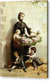 Victorian Flower Seller Acrylic Print by Leopold de Moulignon