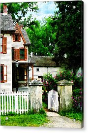 Victorian Home With Open Gate Acrylic Print by Susan Savad