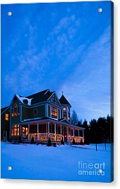 Victorian House At Christmastime Acrylic Print by Diane Diederich