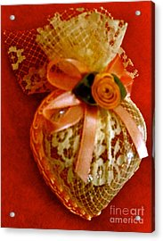 Victorian Lace Heart Study 2 Acrylic Print by Cathy Dee Janes
