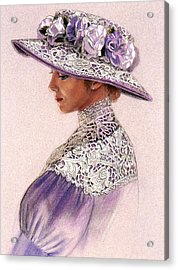 Acrylic Print featuring the painting Victorian Lady In Lavender Lace by Sue Halstenberg