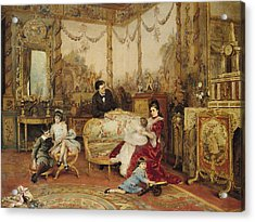 Victorien Sardou And His Family In Their Drawing Room Acrylic Print by Auguste de la Brely