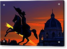 Vienna Monuments And Crescent Moon Acrylic Print by Babak Tafreshi