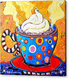 Viennese Cappuccino Whimsical Colorful Coffee Cup Acrylic Print by Ana Maria Edulescu