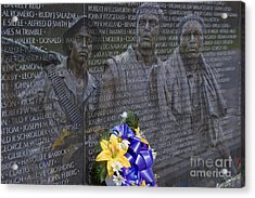 Vietnam Veteran Wall And Three Soldiers Memorial Collage Washington Dc_2 Acrylic Print