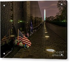 Vietnam Veterans Memorial At Night Acrylic Print