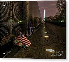 Vietnam Veterans Memorial At Night Acrylic Print by Nick Zelinsky