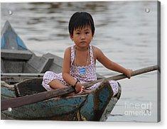 Vietnamese Girl On Lake Tonle Sap Acrylic Print