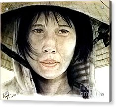 Vietnamese Woman Wearing A Conical Hat Acrylic Print by Jim Fitzpatrick