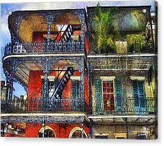 Acrylic Print featuring the photograph Vieux Carre' Balconies by Tammy Wetzel
