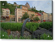 Vieux Port And Chateau Frontenac In Quebec City Acrylic Print by Juergen Roth
